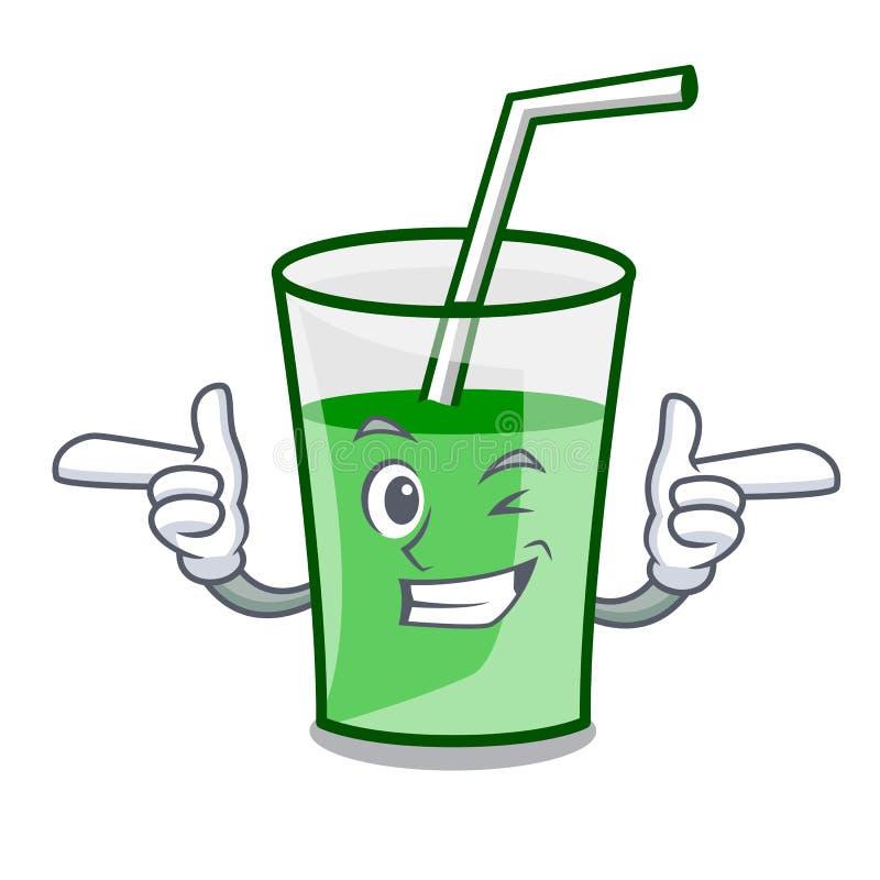 Mrugnięcia smoothie charakteru zielona kreskówka ilustracja wektor