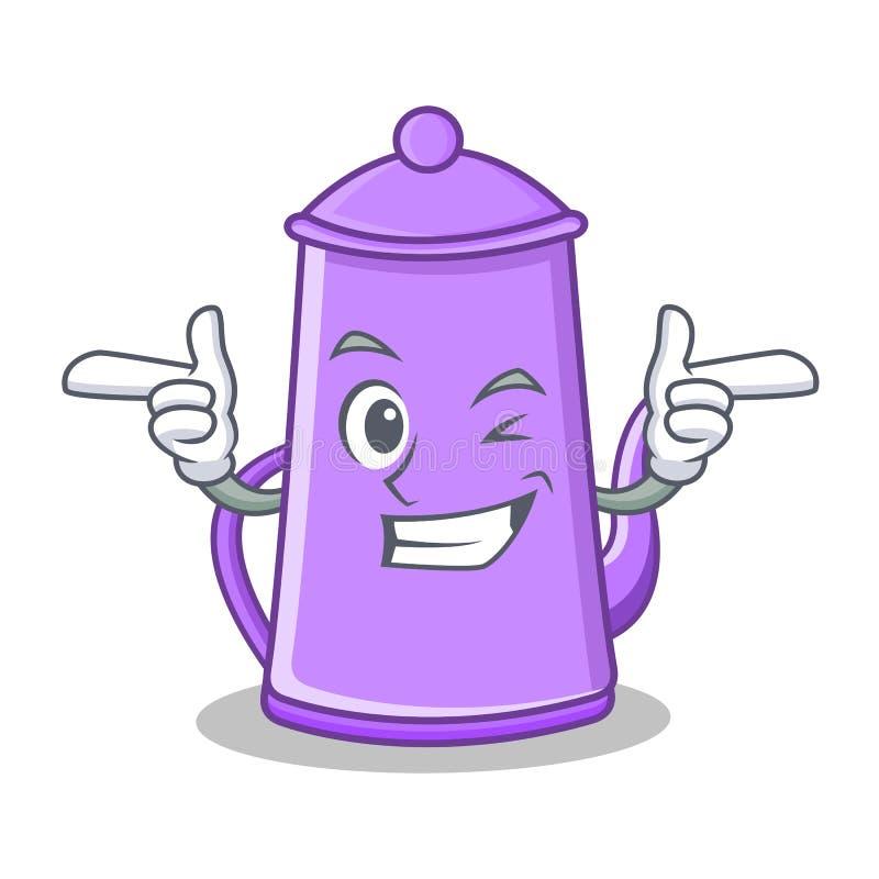 Mrugnięcia teapot charakteru purpurowa kreskówka ilustracji