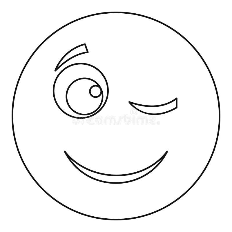 Mrugnięcie uśmiechu ikony wektoru cienka linia royalty ilustracja