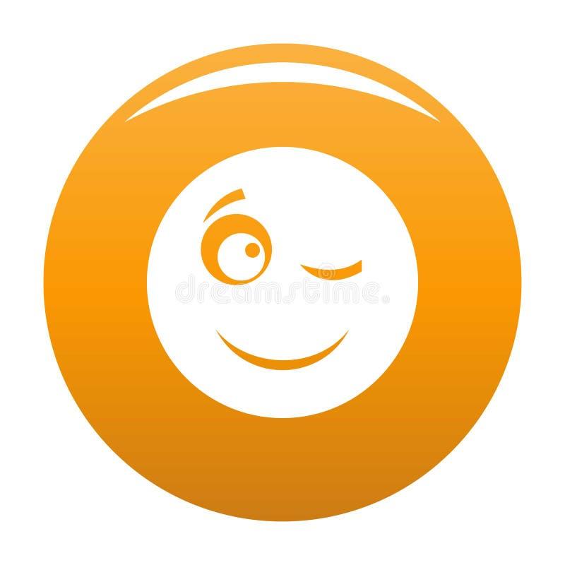 Mrugnięcie uśmiechu ikony wektoru pomarańcze royalty ilustracja