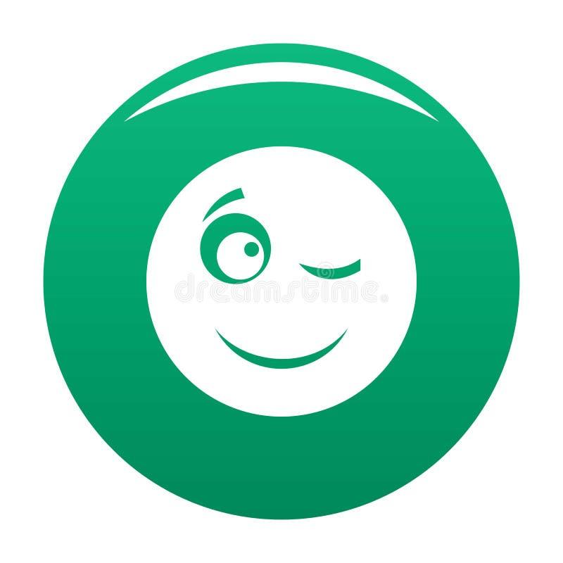 Mrugnięcie uśmiechu ikony wektoru zieleń ilustracji