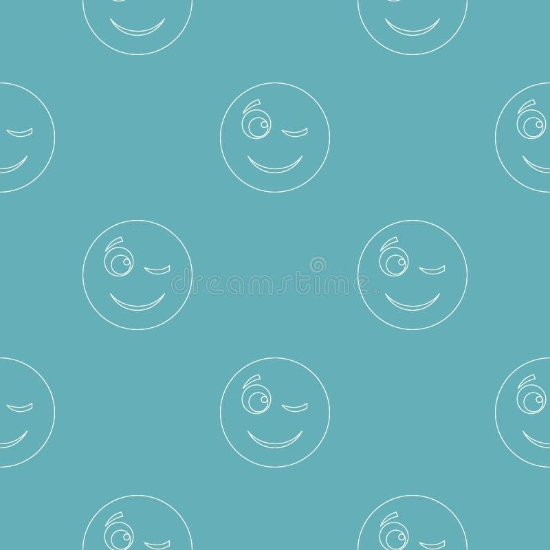 Mrugnięcie uśmiechu wzór bezszwowy ilustracja wektor