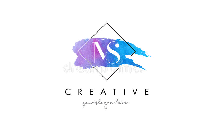 MS Artistic Watercolor Letter Brush Logo. royalty free illustration