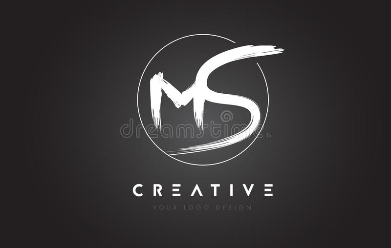 MS Brush Letter Logo Design Logotipo escrito à mão artístico C das letras ilustração stock