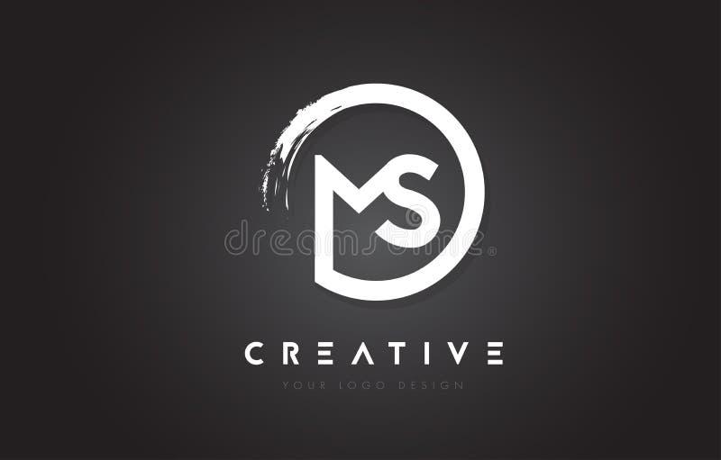 MS Circular Letter Logo com projeto da escova do círculo e preto Backg ilustração stock
