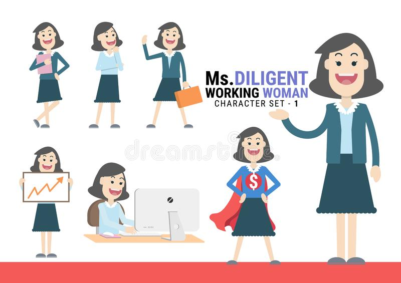 Ms.Diligent. The Working woman various Character set - 1. Ms.Diligent. The Working woman Character set. A variety of activities in the daily lives of young vector illustration
