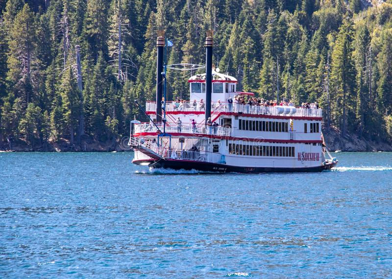 The MS Dixie II Cruising on Lake Tahoe royalty free stock images