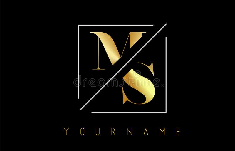 MS Golden Letter Logo with Cutted and Intersected Design. And Square Frame Vector Illustration vector illustration