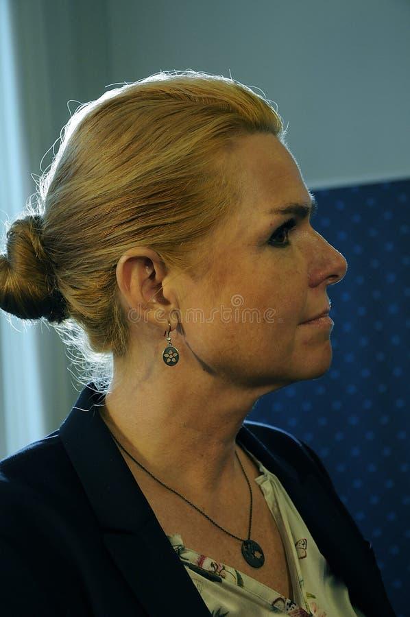 Ms INGER STOJBERG_MINISTER PER INTEGRAZIONE fotografia stock libera da diritti