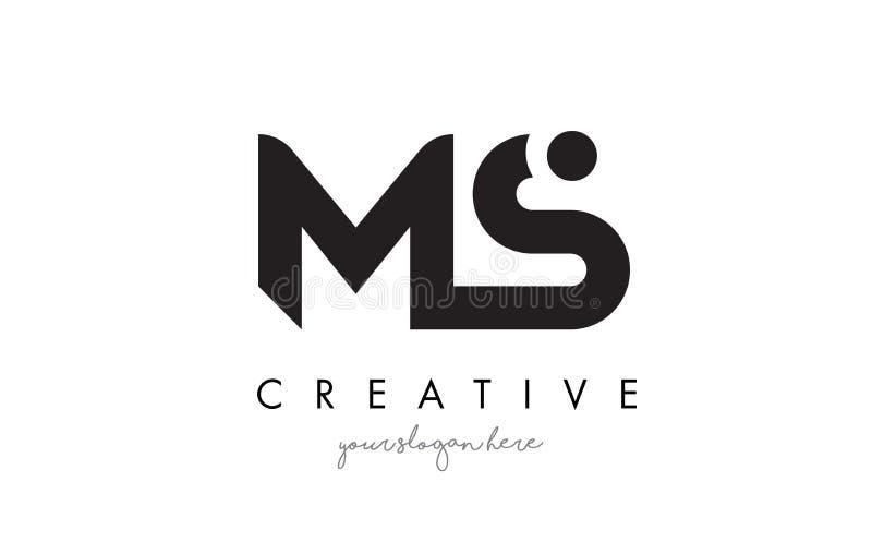 MS Letter Logo Design com tipografia na moda moderna criativa ilustração stock