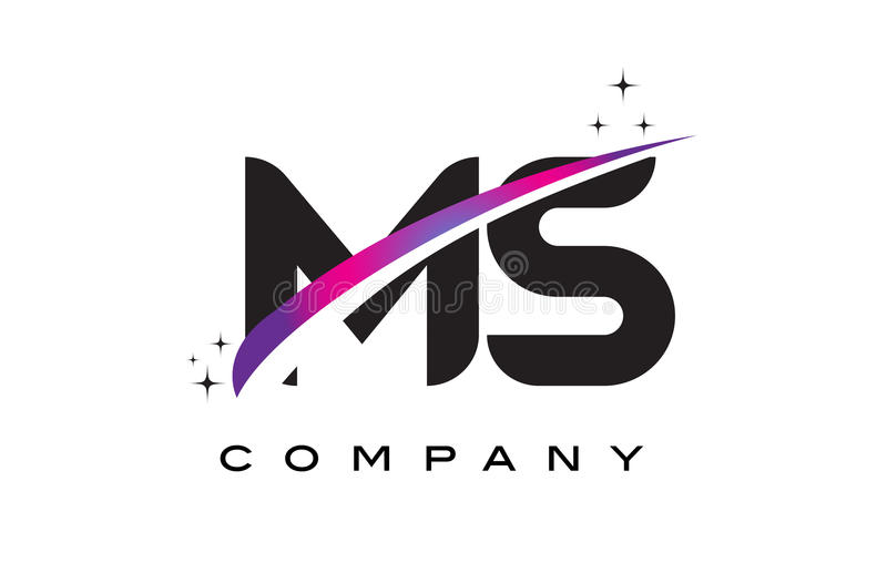 MS M S Black Letter Logo Design with Purple Magenta Swoosh. And Stars royalty free illustration