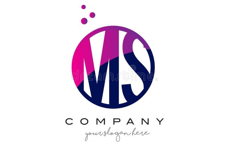 MS M S Circle Letter Logo Design com Dots Bubbles roxo ilustração do vetor