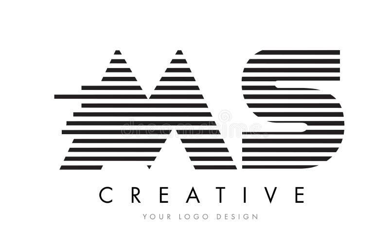 MS M S Zebra Letter Logo Design with Black and White Stripes stock illustration