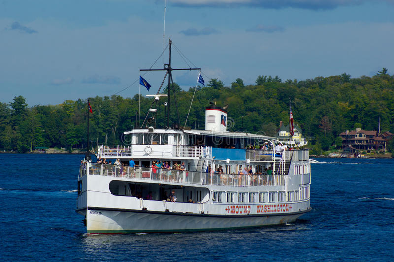 MS mount Washington. Sailing on Lake winnipesaukee the mount Washington offers pleasure cruises on the lake. It is the flagship vessel of the winnipesaukee stock photo