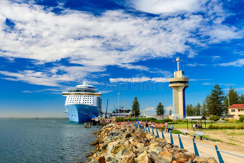 MS Ovation of the Seas cruise ship. Port Adelaide, South Australia, February 14, 2017: MS Ovation of the Seas cruise ship docked at Outer Harbour. It is third stock photos