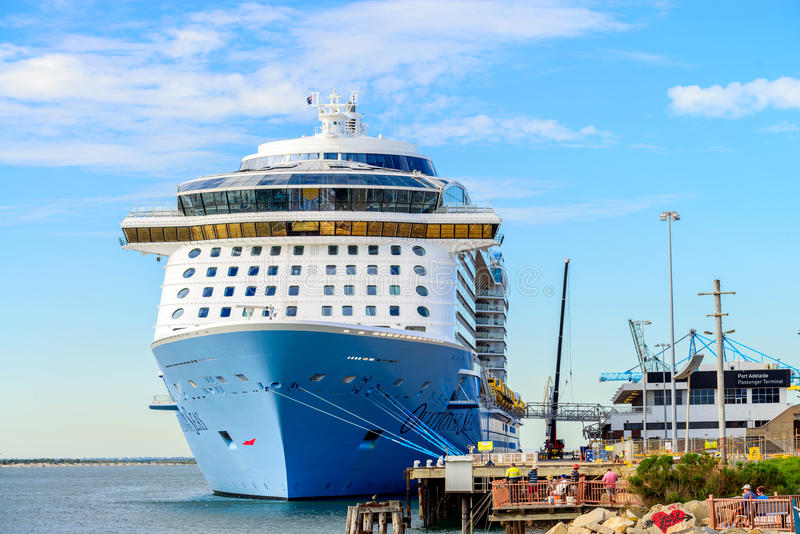 MS Ovation of the Seas cruise ship. Port Adelaide, South Australia, February 14, 2017: MS Ovation of the Seas cruise ship docked at Outer Harbour. It is third royalty free stock images