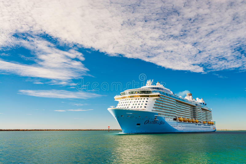 MS Ovation of the Seas cruise ship. Port Adelaide, South Australia, February 14, 2017: MS Ovation of the Seas cruise ship leaving Outer Harbour at sunset stock photo