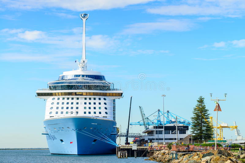 MS Ovation of the Seas cruise ship. Port Adelaide, South Australia, February 14, 2017: MS Ovation of the Seas cruise ship leaving Outer Harbour. It is third ship royalty free stock images