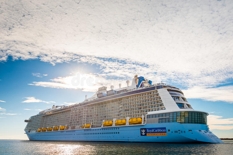 MS Ovation of the Seas cruise ship. Port Adelaide, South Australia, February 14, 2017: MS Ovation of the Seas cruise ship leaving Outer Harbour. It is third ship royalty free stock image