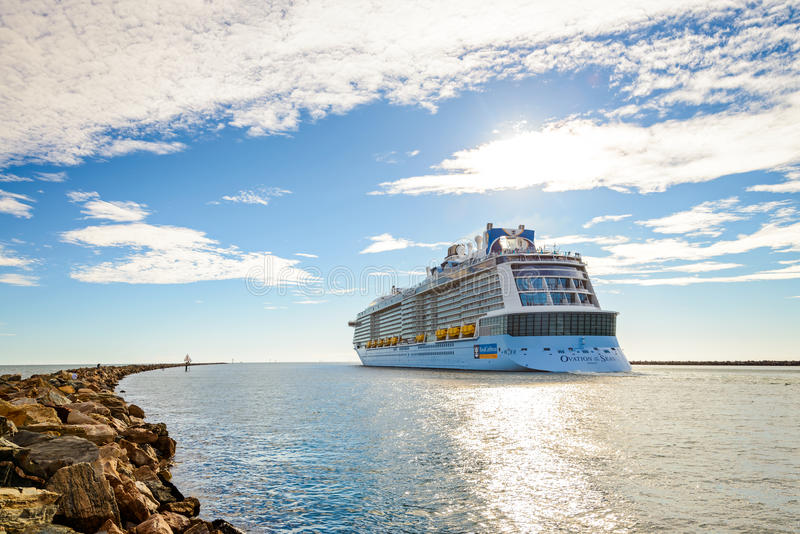 MS Ovation of the Seas cruise ship. Port Adelaide, South Australia, February 14, 2017: MS Ovation of the Seas cruise ship leaving Outer Harbour. It is third ship stock photos