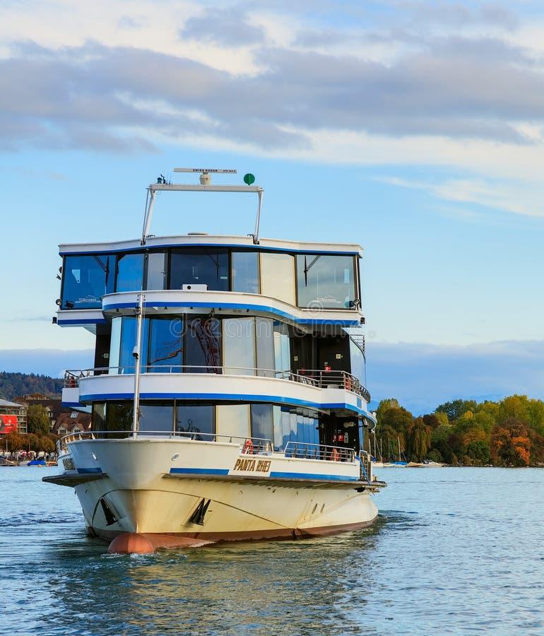 Ms Panta Rhei på sjön Zurich arkivfoto