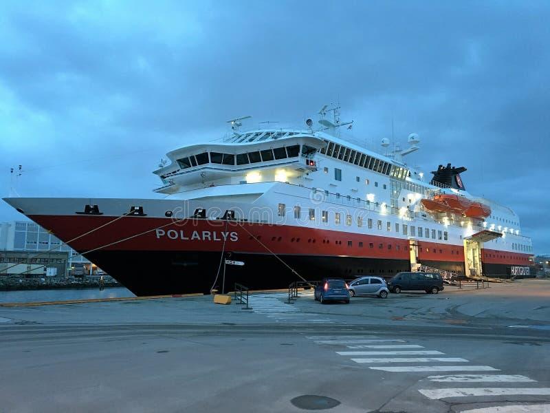 MS ' Polarlys'在特隆赫姆 免版税库存照片
