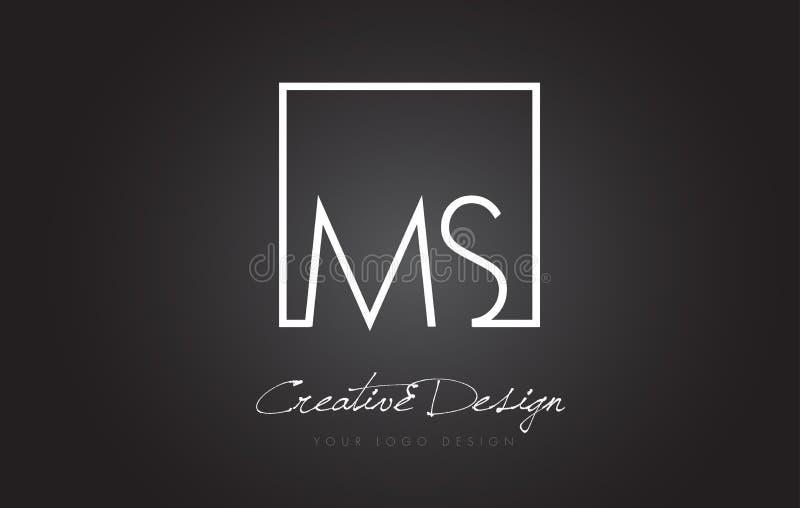 MS Square Frame Letter Logo Design com cores preto e branco ilustração royalty free
