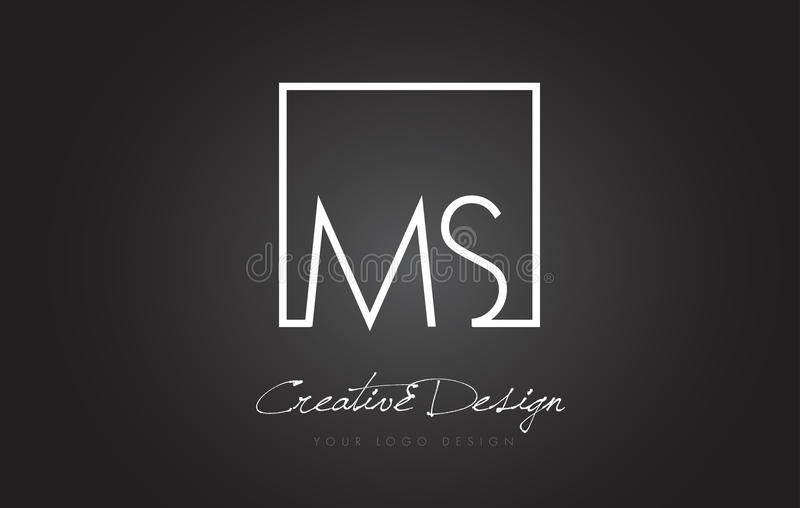 Ms Square Frame Letter Logo Design con colores blancos y negros libre illustration