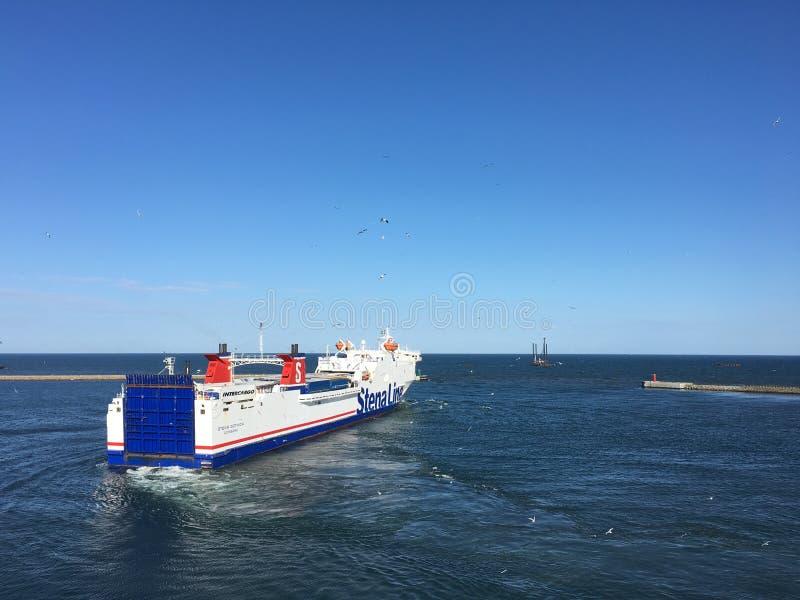 MS Stena Gothica in Frederikshavn, Denmark. June 6th, 2016-FREDERIKSHAVN, DENMARK. The Stena line ferry MS Stena Gothica departs from Frederikshavn harbour in royalty free stock photography