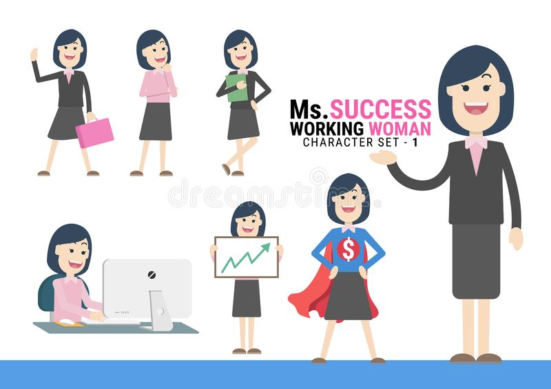 Ms.Success. The Working woman Character set - 1. Ms.Success. The Working woman Character set. A variety of activities in the daily lives of young working women royalty free illustration