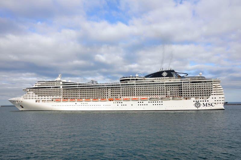 MSC Preziosa cruising on sea royalty free stock photos