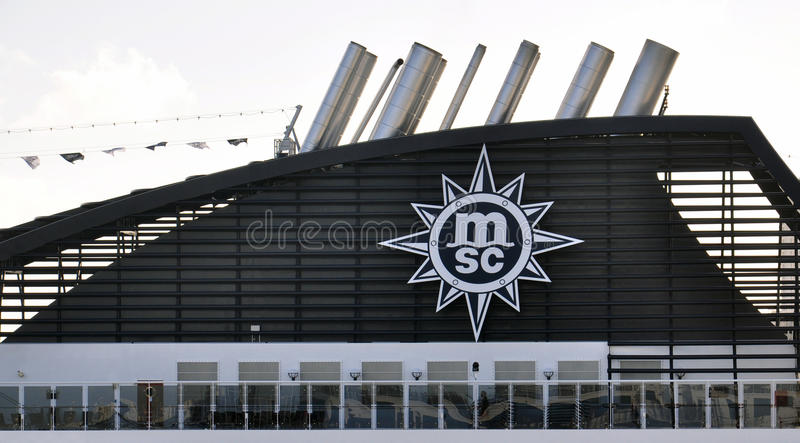 MSC ship funnel royalty free stock image