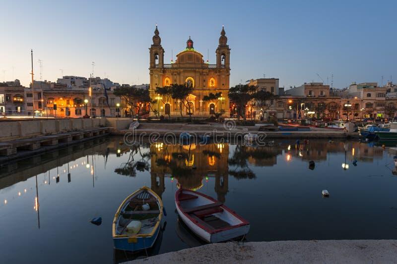 Msida Farny kościół Malta fotografia stock