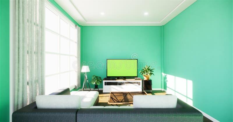 MSmart Tv z pustym czerń ekranu obwieszeniem na gabinetowym projekcie, nowożytny żywy pokój z mennicy ścianą na białej drewnianej ilustracji