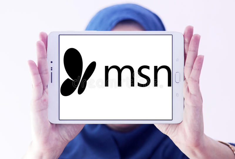 Msn logo. Logo of msn on samsung tablet holded by arab muslim woman. MSN stylized as msn is a web portal and related collection of Internet services and apps for royalty free stock photo