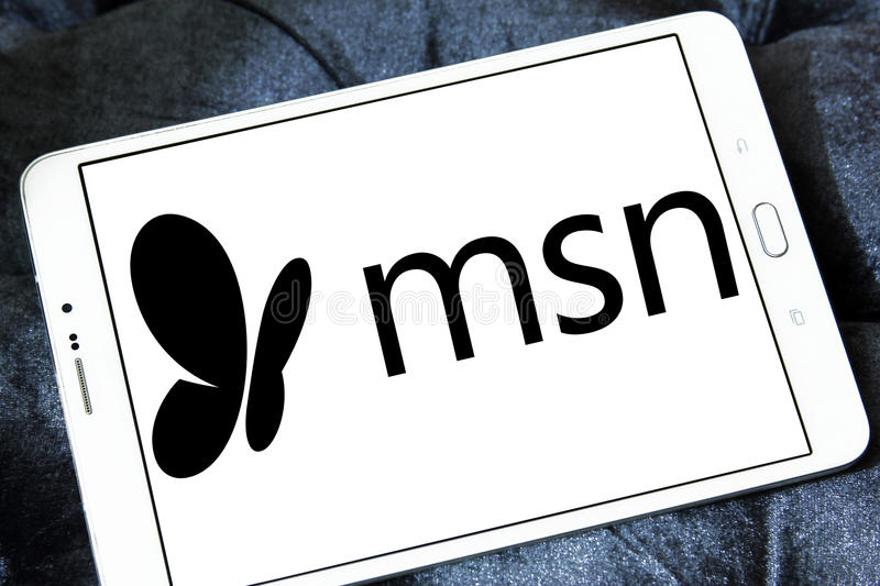 Msn logo. Logo of msn on samsung tablet. MSN stylized as msn is a web portal and related collection of Internet services and apps for Windows and mobile devices royalty free stock photo