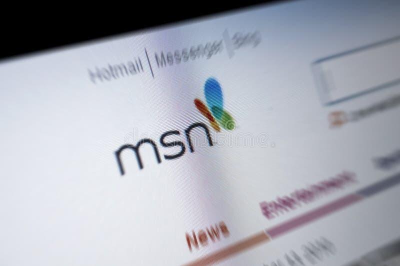 MSN Main page internet screen stock image