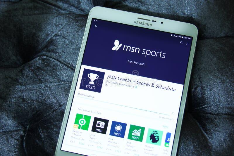 Msnsporten, scores en programma app royalty-vrije stock afbeelding