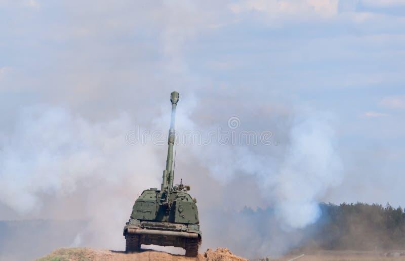 Msta-S火炮射击 免版税库存图片