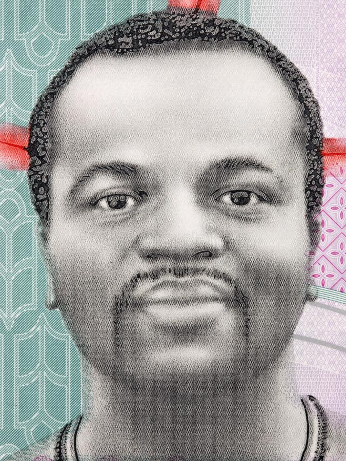 Mswati III, a portrait. From Swazi money royalty free stock photos