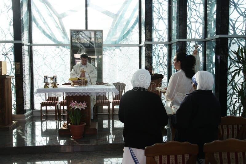 Msza w kaplicie w Macierzystym Teresa pomnika domu w Skopje obrazy stock