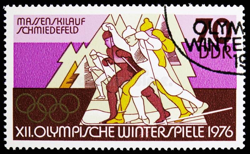 Mszalny Przez cały kraj narciarstwo, Schmiedefeld, zim Olympics 1976, Innsbruck seria około 1975, zdjęcie stock