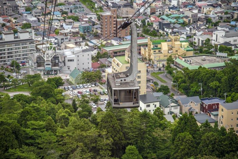 Mt空中览绳  函馆, Hookaido,日本 免版税库存图片