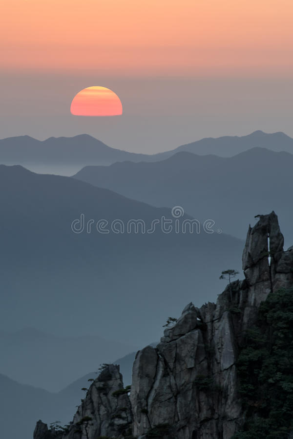 Mt 黄山在安徽,中国 图库摄影