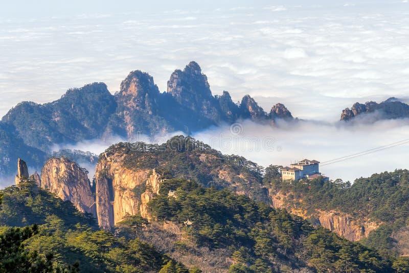 Mt 黄山在安徽,中国 库存图片