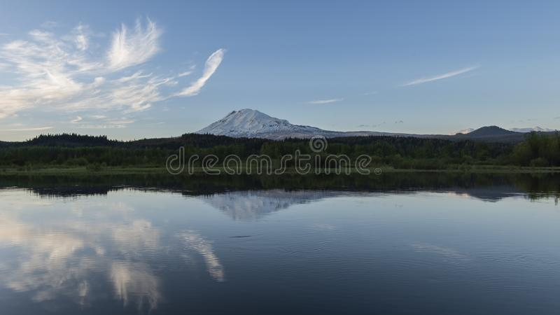 Mt Adams Reflecting in Trout Lake. Mt Adams as seen from Trout Lake. Mt Adams is the second highest peak in Washington state stock photo