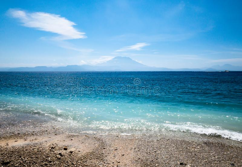 Mt Agung view from Gili Air Island stock photos