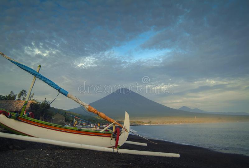 Mt. Agung and the Village of Amed royalty free stock photos