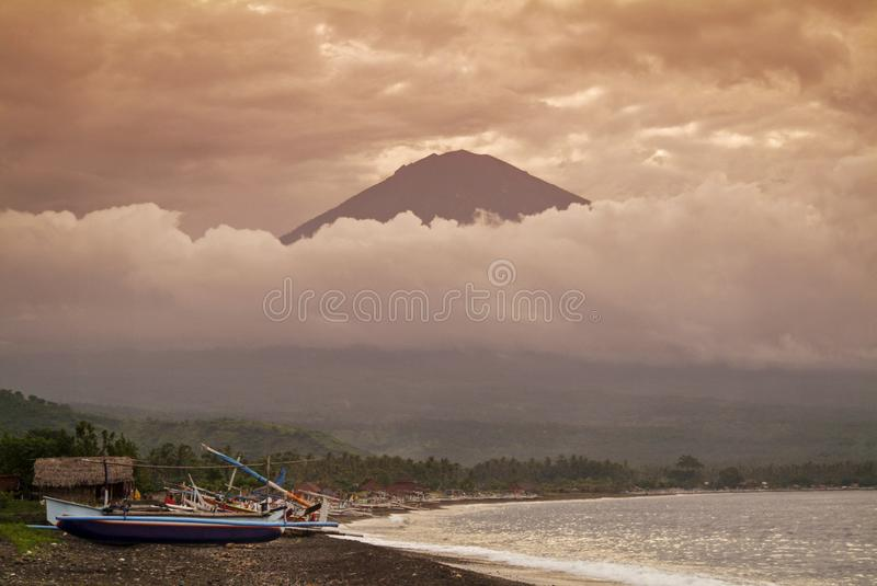 Mt. Agung and the Village of Amed royalty free stock photography