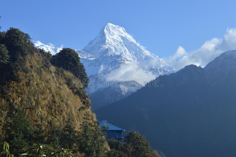 Mt. Annapurna. View from Ghorepani, Nepal. It lies in Annapurna Conservation area royalty free stock photos